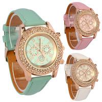 Vogue Women Ladies Crystal Dial Quartz Analog Leather Bracelet Wrist Watch Suzie