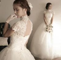 Diamond Princess Bride lace halter straps Korean word shoulder wedding dress