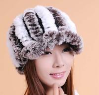2014 Women New Rabbit Fur And Kinnted Inside Warm Autumn Winter Multi Color Hats Caps Skullies Beanies Gorros de Lana H1409