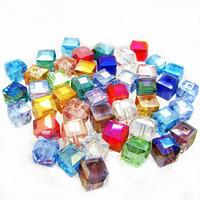 Crystal Beads AAA+ Square Cube Shape Assorted Color 4 6 8 mm Thunder Polish Aquamarine Faceted Glass Bead Wholesale HA291