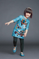 6Pcs/lot High-quality The owl Printing half Sleeve  girls dress