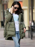 Hots sale  2014 Fashion  Long Winter Coat Women White Duck Down Jacket Female Parka With Hood Army Green Black Outwear For Women