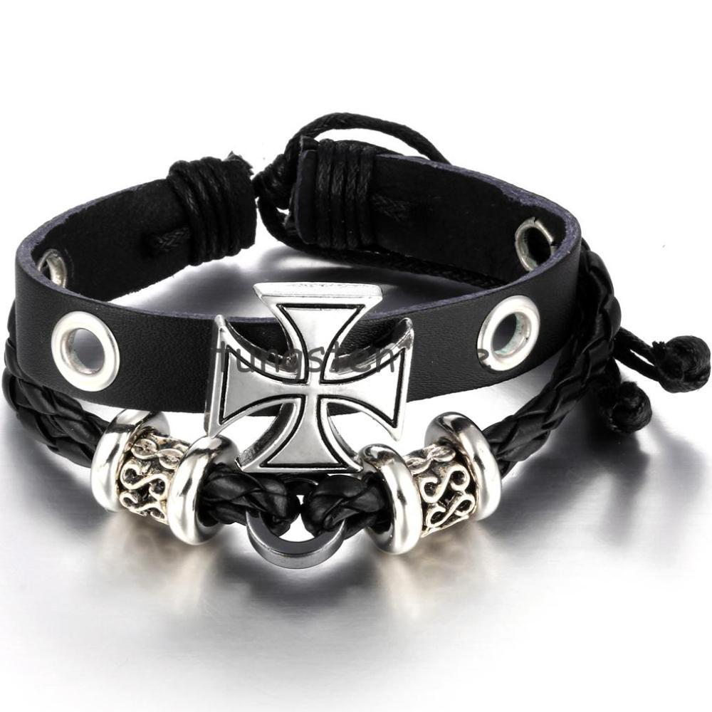 Punk Metal Cross Friendship Bead Zen Leather Bracelet Wristband For Men Boys Christmas Gifts Adjustable 17-24cm(China (Mainland))