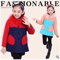 2014 Winter New Children Clothing Girls Woolen Coat Korean Fashion Fur O-neck Single-breasted Woolen Outwear Jacket Trench