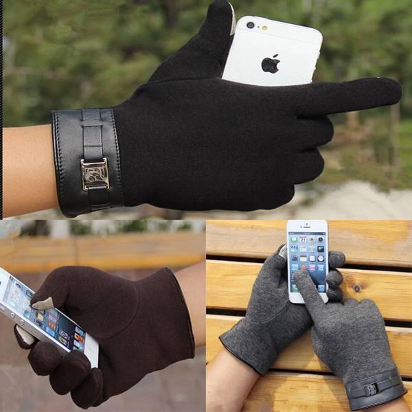 1 pair Fashion New Winter Warm Men s Gloves Mitten ipad iphone Touch Gloves Plus Velvet