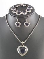 Guaranteed 100% Natural 3pcs Antique Silver Black Heart Blue Sandstones Earrings Bracelet Necklace Women Vintage Jewelry Set