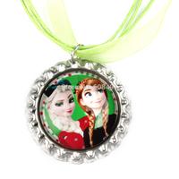 20pcs Frozen Christmas Necklace, Princess Elsa and Anna Necklace, Green Ribbon Bottle Cap Necklace