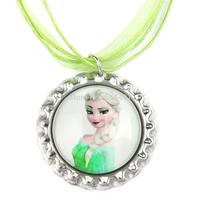 20pcs Frozen Christmas Necklace, Big Sister Elsa Necklace, Green Ribbon Bottle Cap Necklace