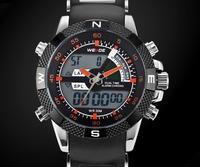 WEIDE Brand Name Men watch Waterproof 30M Silicone Straps Watches Led Alarm Digital Analog Display Wristwatch Dropship