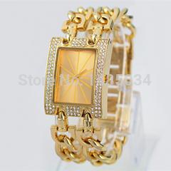 Luxo marca de moda senhoras relógios das mulheres de cristal diamante Rhinestone vestido relógio de quartzo malha de aço inoxidável pulseira dupla(China (Mainland))