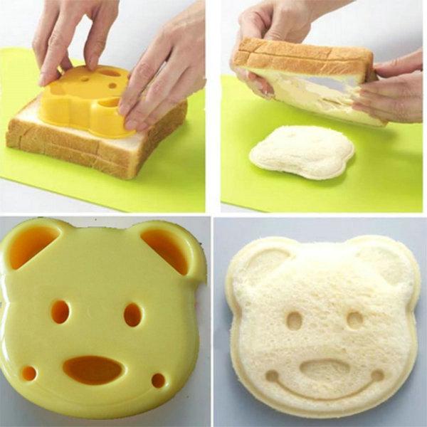 Home DIY Cookie Cutter Plastic Sandwich Toast Bread Mold Maker Cartoon Bear Tool(China (Mainland))