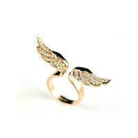 17mm Size Fashion Exquisite Rhinestone Angel Wing Ring Jewelry for Women