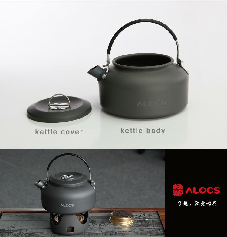 ALOCS CW-K03 1.4L Camping Kettle Picnic Tea Coffee Pot Hard Anodizing Aluminum Cookware 140g w/ Bag(China (Mainland))