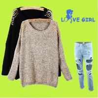 Free Shipping 2014  Fashion Loose bat sleeve sweater chain rivet sweater  FT1708