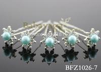Wholesale 20pcs 7cm Turquoise Pearl Hair Pins Clip Wedding Bridal Women Hair Jewelry