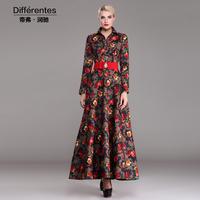 Twods2014 new autumn winter Linen x long dress women floral print single breasted turn down collar maxi dresses plus size s-xxxl