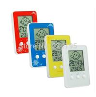 Digital LCD Smile Temperature Humidity Thermometer Hygrometer Meter Clock