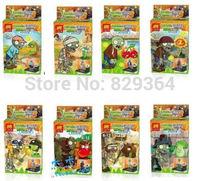 New SY DIY Plants vs Zombies Minifigure Building Blocks Sets toys lego compatible 8pcs/lot