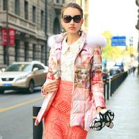 Europe Ladies Elegant Winter Duck Down Jackets 2014 New Real Fur Hooded Digital Print Plus Size XXL Down Parkas Coat Outerwear