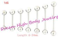 Tongue Bar Straight Barbell Ring Nipple Piercing Eyebrow Tregus 1.2mm  6mm 8 10 12 14 16 24mm length Ear Stud 16G Body Jewelry