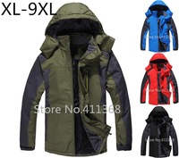 XL-9XL plus size winter 2014 outerwear fashion men's thickening sports coat brand outdoor man waterproof climbing clothes jacket
