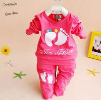 2014 Hot Spring Autumn Baby Set 0-24 M Baby Clothing Sets Newborn Fashion (Long Pants+T Shirt ) Set Baby Boy Girl Clothes