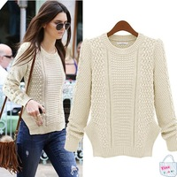 2014 new casual women's pullover European and American style fashion Slim round neck long-sleeved knit women sweater 2