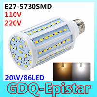Free shipping 3x 20W 86LED 5730 SMD E27 Corn Bulb Light Maize Lamp LED Light Bulb Lamp LED Lighting Warm/Cool White