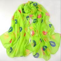 Hottest women fashion chiffon lips design soft silk scarf shawl cape