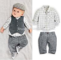 2014 autumn boy shirt + trousers+ boy  + three piece suit fashion children's clothing set
