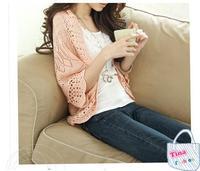 2014 new fashion women thin cardigan sweater hollow bat sleeve loose sun shirt air-conditioned shirt blouse shawl female