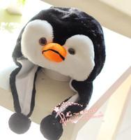 Thick warm winter hat cartoon penguin animal shaped plush ear cap hat