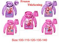 2014High Fashion cartoon Frozen Queens pattern Children outerwear Kid plus velvet jacket,Girls Fleece thicker Sweatshirts100-140