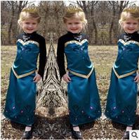 2014 new  Frozen Elsa dress Girl Princess Dress Summer longsleeve diamond dress Elsa Costume,