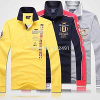 New Mens Long Sleeve T Shirts Fashion 2014 T-Shirt Designer Casual Men's Brand Aeronautica Militare Emboroidery Tee T Shirt Tops