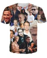 2014 New high quality Men's Short Sleeve Cotton T shirt Fashion Men/Women ryan gosling Print 3D t shirt