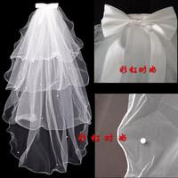 Free&Drop Shipping Cute lace Wedding Veil Bridal Mantilla Bridesmaid Veils 4 Layers Edge Bow-twi Comb