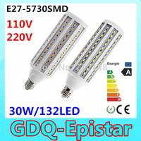 Free shipping 3x 30W 132LED 5730 SMD E27 E14 B22 Corn Bulb Light Maize Lamp LED Light Bulb Lamp LED Lighting Warm/Cool White