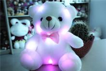 2014 neue plüsch kleinen bunten glühenden tragen licht kissen teddy modell geburtstagsgeschenke, weihnachtsgeschenke, new years geschenk(China (Mainland))