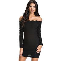 New arrival, High quality! Fashion slash neck long sleeve mini Dress, women's Dresses, One Size, DL21693