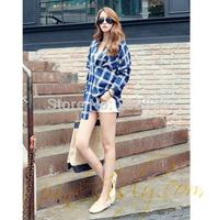 Korean version of the 2014 new Korea Dongdaemun loose big yards leisure big plaid long-sleeved shirt blouse
