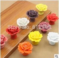 2014 new 4PCS/Lot Vintage Rose Flower Ceramic Door Knob Cabinet Drawer Kitchen Cupboard Handle DIY