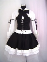 Gothic Lolita waiter cosplay white black dress with vest and tie Custom Made Free Shipping