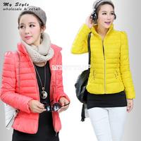 Fashion 2014 New Korean Winter Cotton-Padded Jacket Short Outwear Sweet Slim Jacket Zipper Long Sleeve Plus Size Women Coat 2091