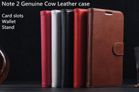For Samsung Galaxy Note 2 Genuine Cow Leather case, Folio Stand Card slots Wallet Leather case with Original package