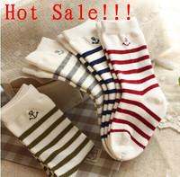 (4Pairs/Lot)Free Shipping Fresh navy style combed cotton knee-high socks child socks stripe anchor sew-on kid's children socks