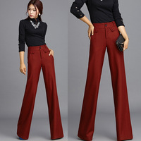 2014 New Winter Autumn Fashion Formal Womens Wine Red Woolen Wide Leg Trousers , Female Elegant Wool High Waist Pants For Woman