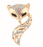 Free shipping High quality Scarf Brooch Wedding Bridal Gift Lovely Crystal Rhinestone Fox Brooch Pin BR149
