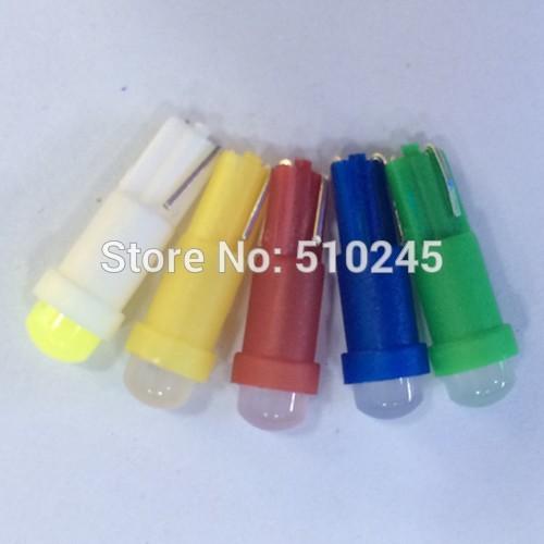 100X Car Interior LED T5 led Dashboard Wedge ceramics 1 LED auto Car Light Bulb Lamp Yellow/Blue/green/red/white free shipping(China (Mainland))