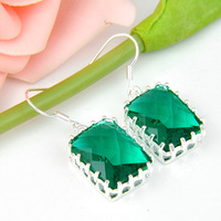 NEW 2014 romance green topaz crystal earrings for women 925 sterling silver plated jewelry